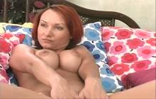 Busty redhead with pro masturbation skills