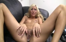 Sexy blonde creampied on casting