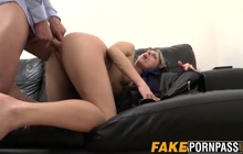 Nasty blonde MILF on casting couch