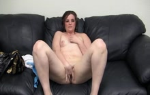 Fucking chubby brunette on couch